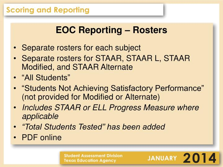 EOC Reporting – Rosters