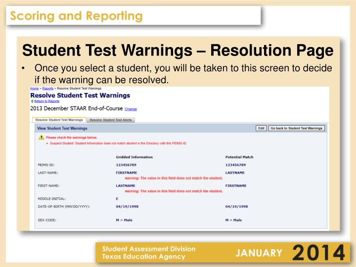 Student Test Warnings – Resolution Page