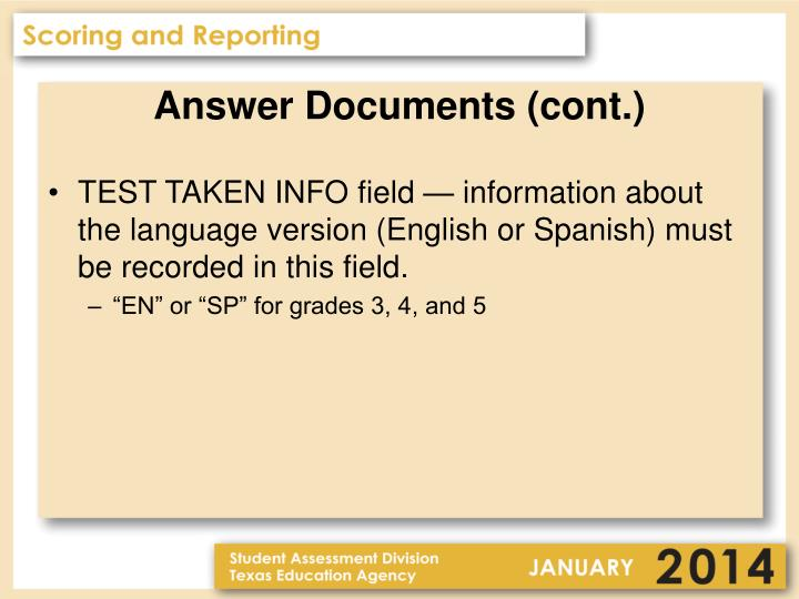 Answer Documents (cont.)