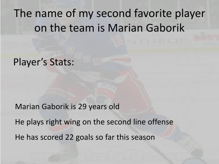 The name of my second favorite player on the team is Marian Gaborik