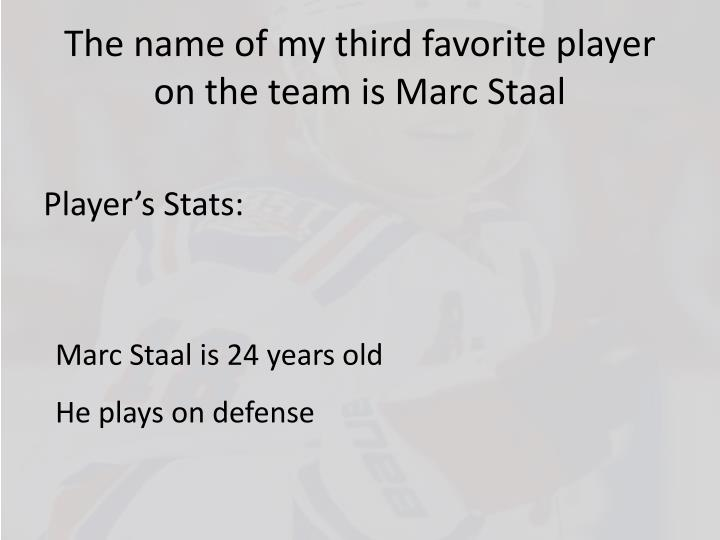 The name of my third favorite player on the team is Marc Staal