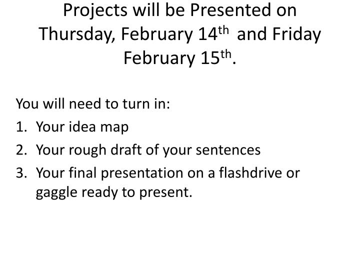 projects will be presented on thursday february 14 th and friday february 15 th n.