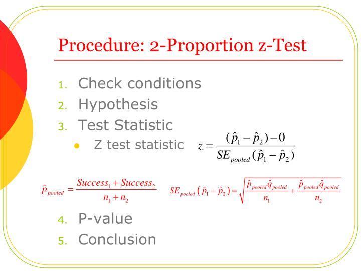 Procedure: 2-Proportion z-Test