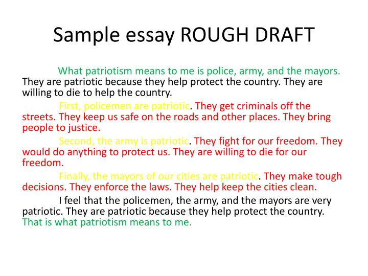 Rough draft essay example