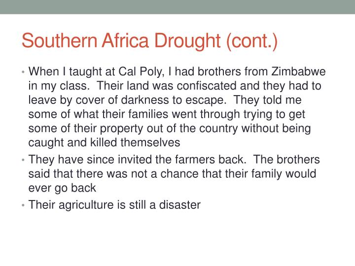 Southern Africa Drought (cont.)