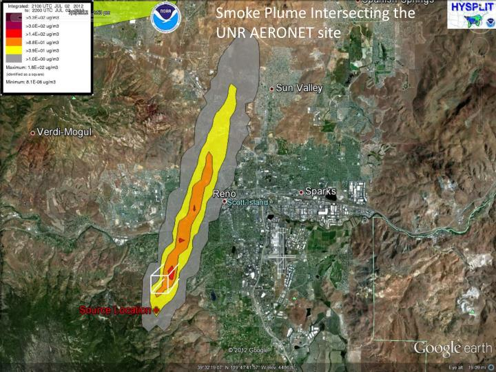 Smoke Plume Intersecting the UNR AERONET site