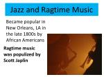 jazz and ragtime music