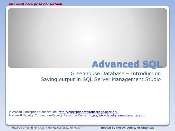 advanced sql n.