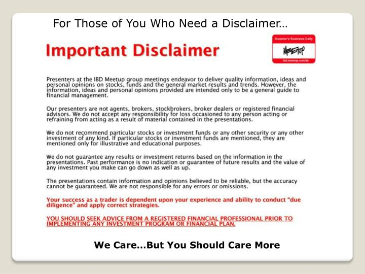 For those of you who need a disclaimer