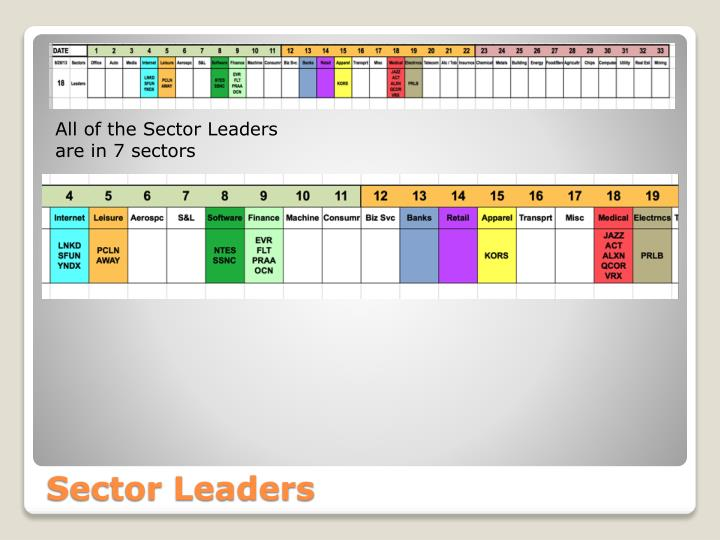 All of the Sector Leaders are in 7 sectors