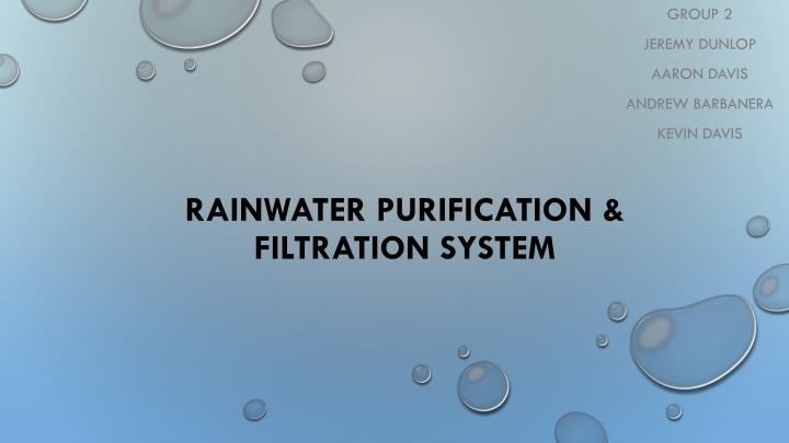 rainwater purification filtration system n.