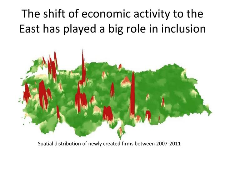 The shift of economic activity to the East has played a big role in inclusion