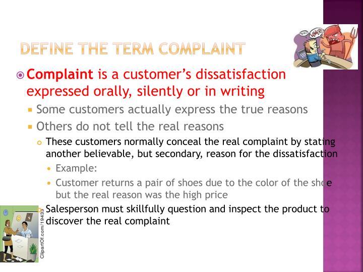 Define the term complaint