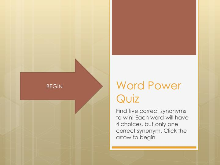 PPT - Word Power Quiz PowerPoint Presentation - ID:2573763