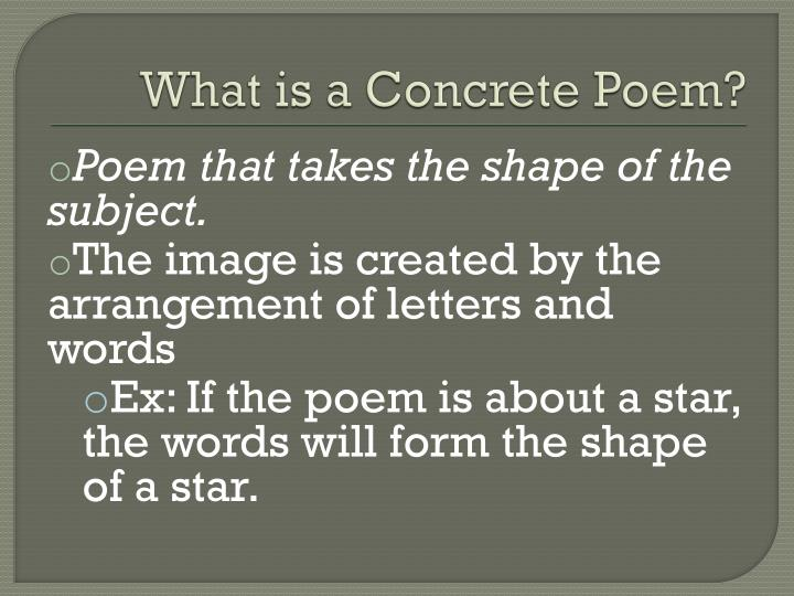 Concrete Poetry PowerPoint Presentation