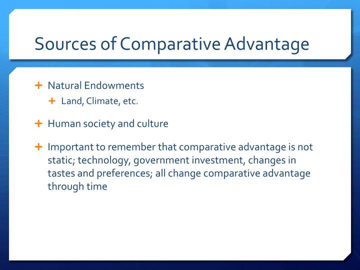 Sources of Comparative Advantage