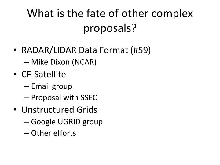 What is the fate of other complex proposals?