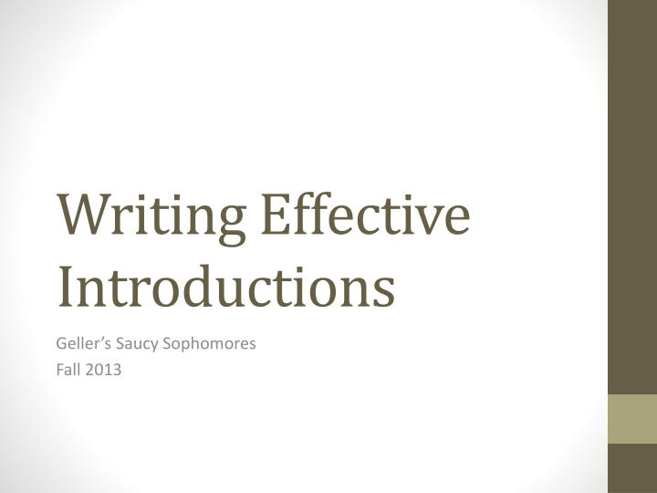 writing effective introductions