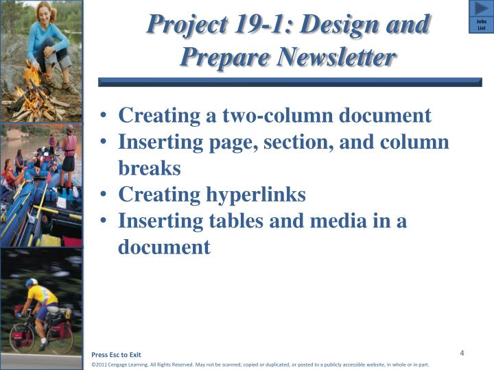 Project 19-1: Design and