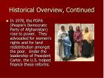 historical overview continued