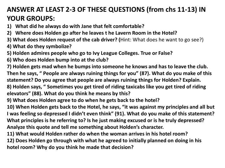 ANSWER AT LEAST 2-3 OF THESE QUESTIONS (from