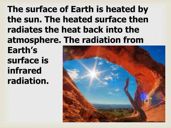 The surface of Earth is heated by the sun. The heated surface then radiates the heat back into the atmosphere. The radiation from Earth's