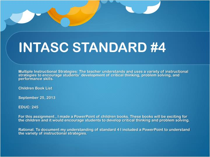 Intasc standard 4