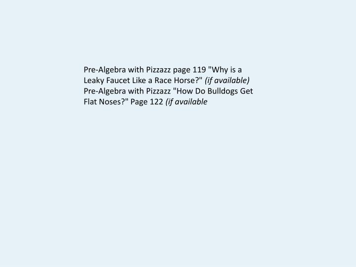 Ppt Pre Algebra With Pizzazz Page 119 Quotwhy Is A Leaky Faucet