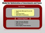 model for optimization of investments and taxes