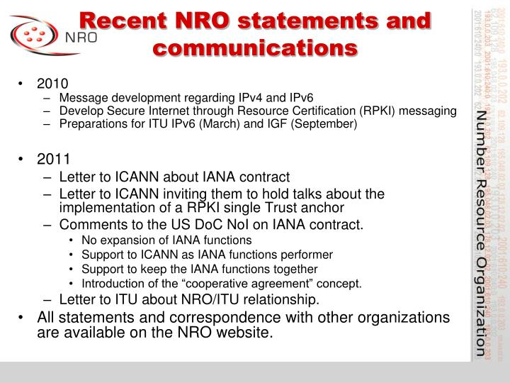 Recent NRO statements and communications