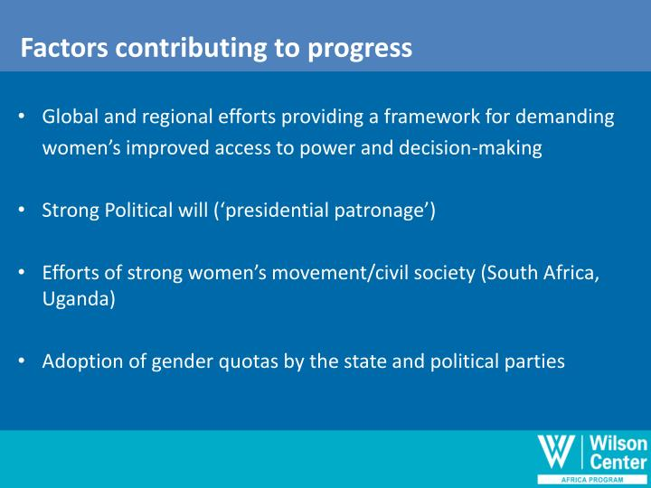 Factors contributing to progress