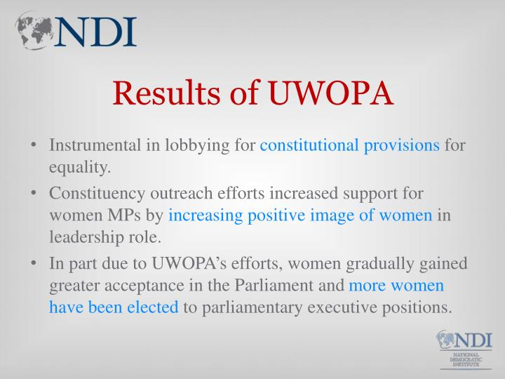 Results of UWOPA
