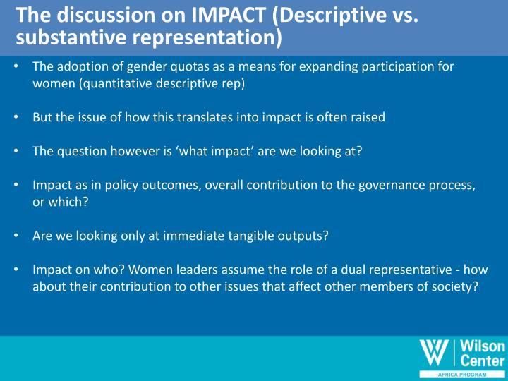 The discussion on IMPACT (Descriptive vs.