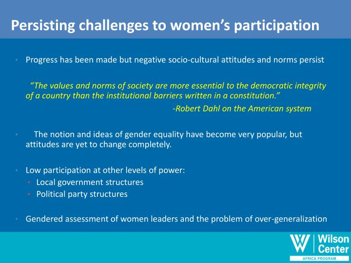 Persisting challenges to women's participation
