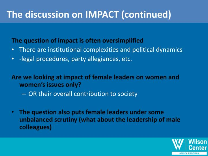 The discussion on IMPACT (continued)