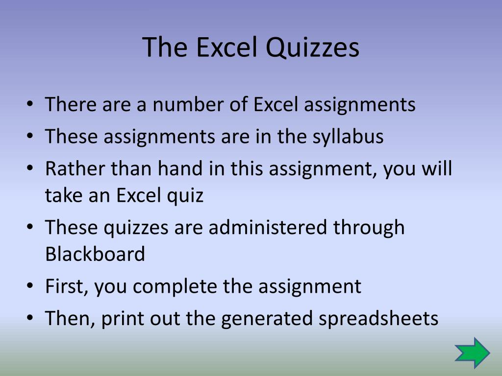 ppt the excel quizzes powerpoint presentation id 2576002