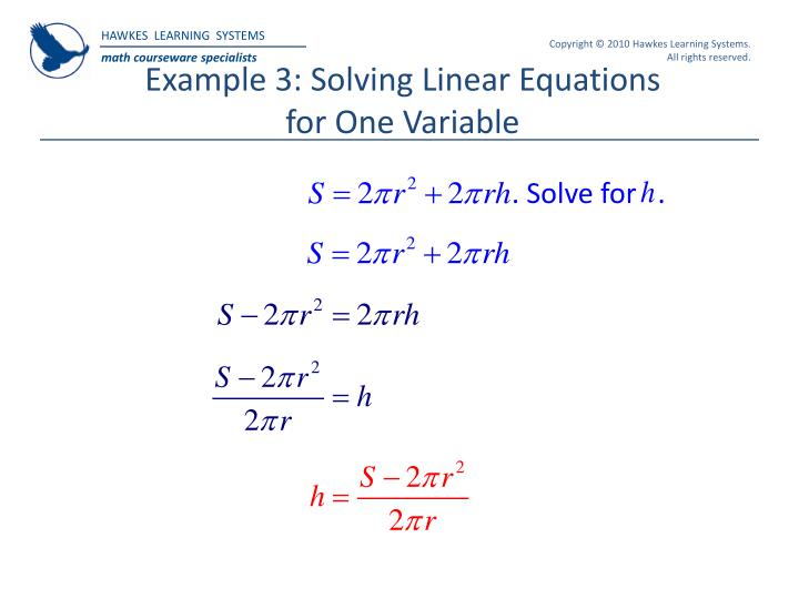 Ppt hawkes learning systems college algebra powerpoint example 3 solving linear equations for one variable fandeluxe Choice Image