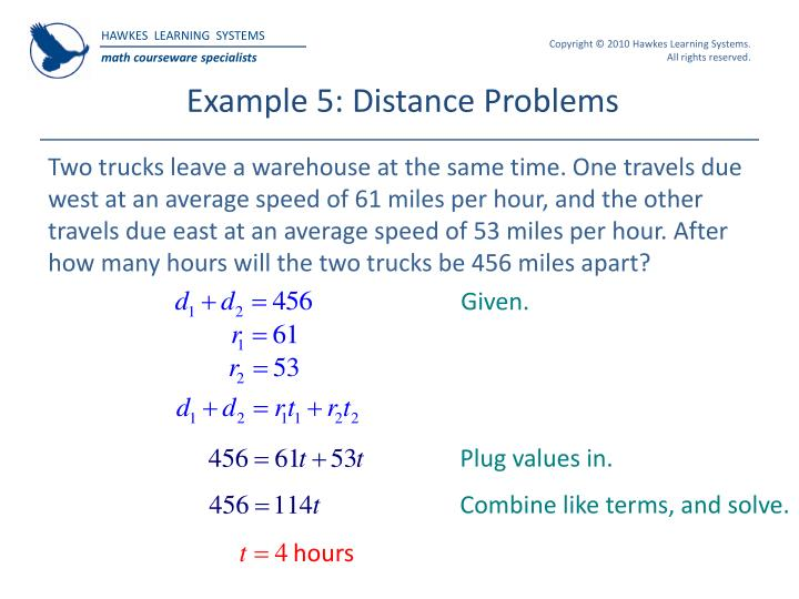 Ppt hawkes learning systems college algebra powerpoint example 5 distance problems fandeluxe Choice Image