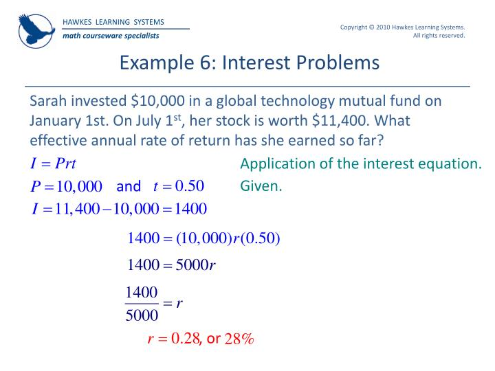 Ppt hawkes learning systems college algebra powerpoint example 6 interest problems fandeluxe Choice Image