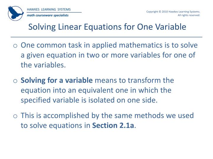 Ppt hawkes learning systems college algebra powerpoint solving linear equations for one variable fandeluxe Choice Image
