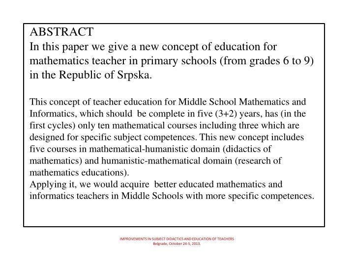 Improvements in subject didactics and education of teachers belgrade october 24 5 20131