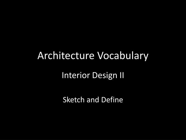 architecture vocabulary