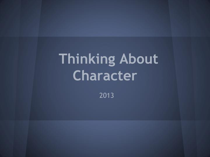 thinking about character n.