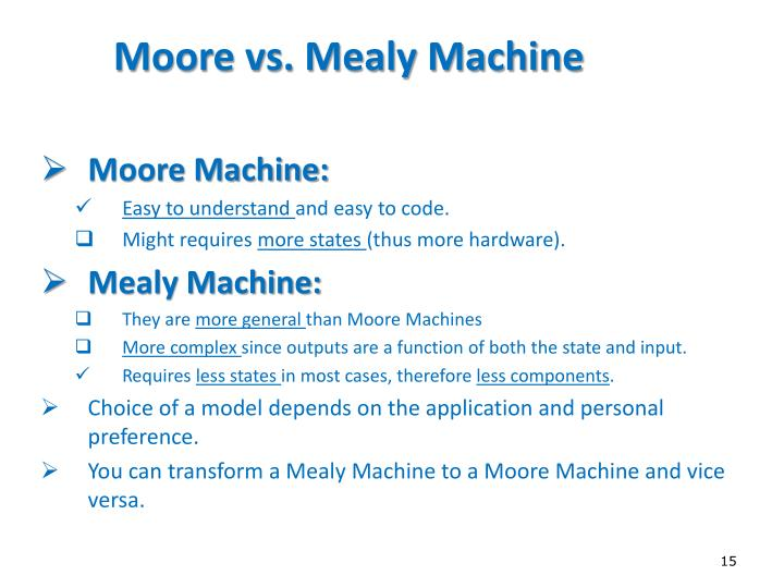 Moore vs. Mealy Machine