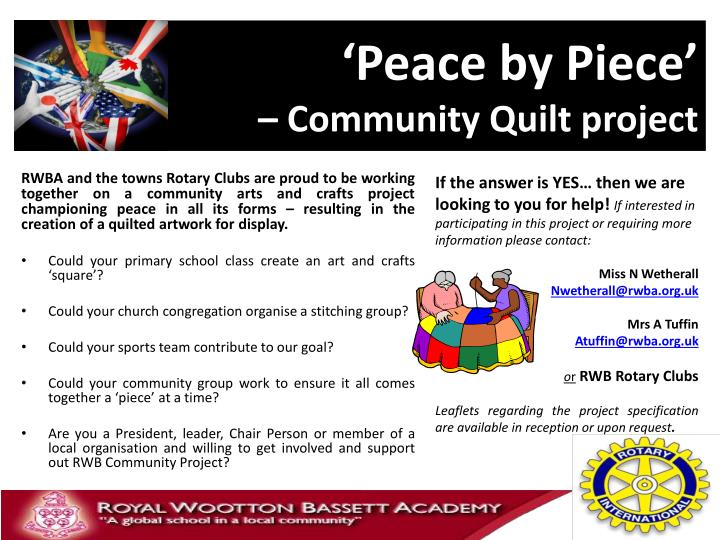Peace by piece community quilt project