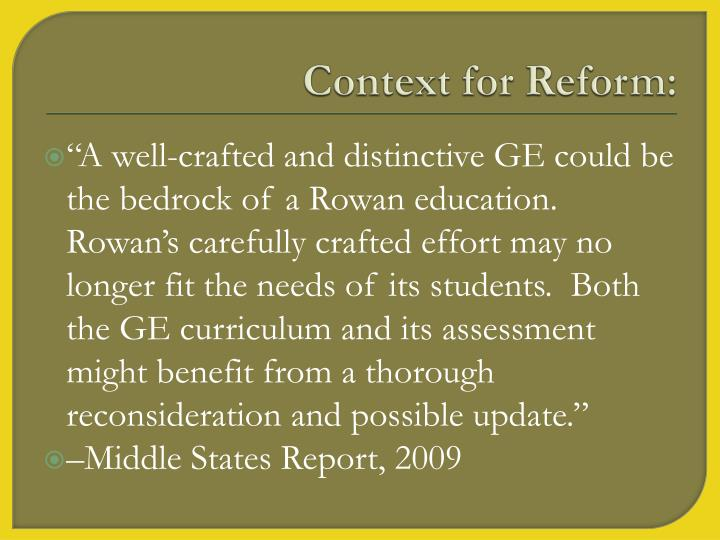 Context for reform