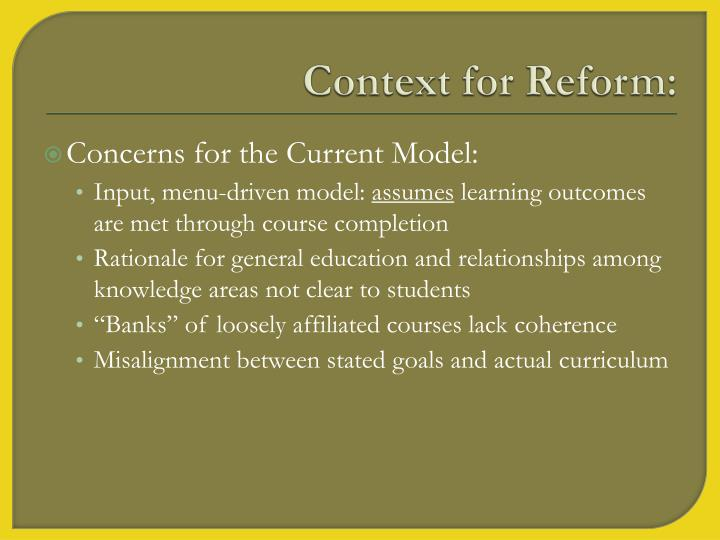 Context for Reform: