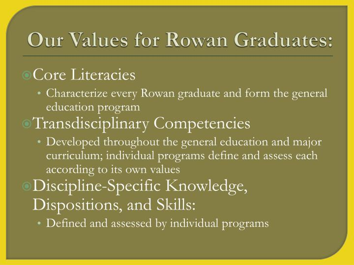 Our Values for Rowan Graduates: