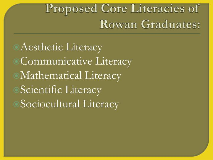Proposed Core Literacies of