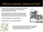 african laborers slaves or free